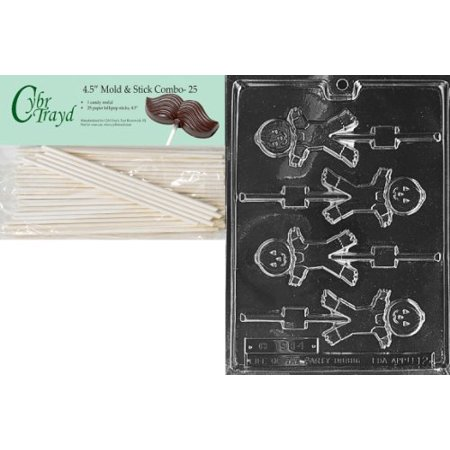 Cybrtrayd 45St25-H012 Cute Scarecrow Lolly Halloween Chocolate Candy Mold with 25 4.5-Inch Lollipop Sticks - Jello Halloween Molds Recipe