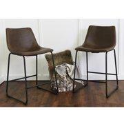 """Walker Edison 24"""" Industrial Faux Leather Counter Stools, set of 2 - Brown"""