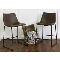 "Walker Edison 24"" Industrial Faux Leather Counter Stools, set of 2 - Brown"
