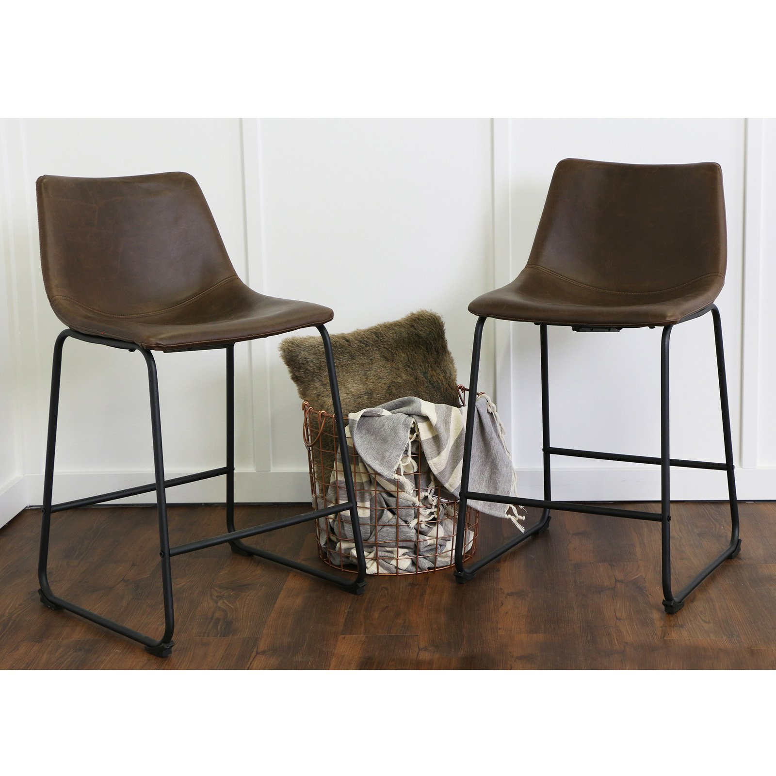 Walker Edison 26 Industrial Faux Leather Counter Stools Set Of 2