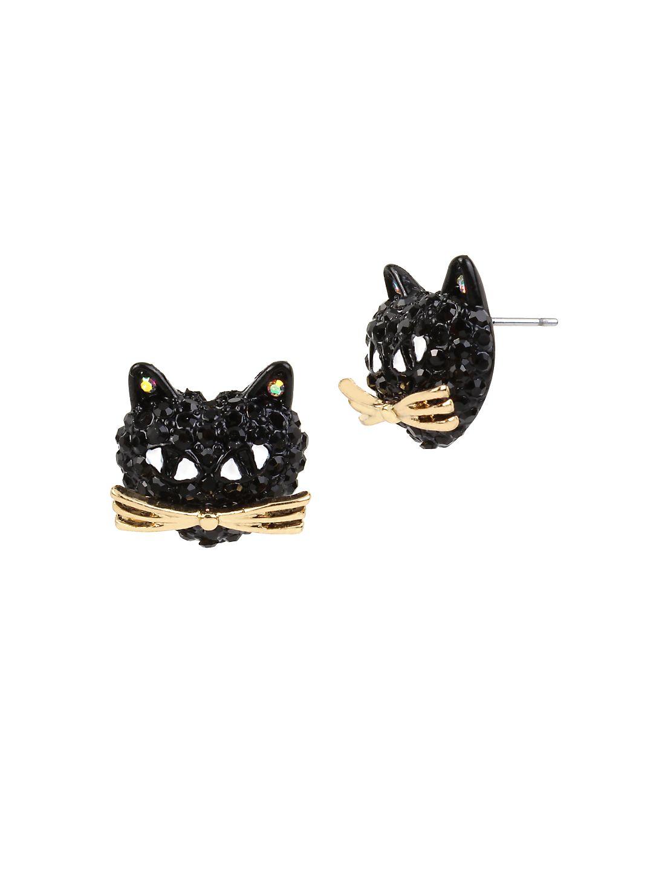 Skeletons After Dark Pave Cat Stud Earrings