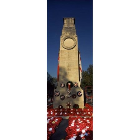Panoramic Images PPI138053L The Cenotaph and wreaths  Whitehall  Westminster  London  England Poster Print by Panoramic Images - 12 x 36