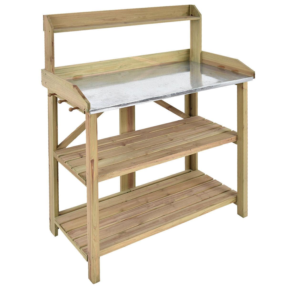 """GHP 41.5""""x19.5""""x48"""" Fir Wood & Metal Sheet 3-Shelf Garden Potting Bench Workstation"""
