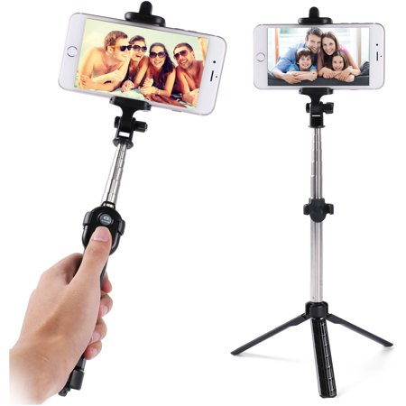 travel friendly portable bluetooth remote control selfie stick and mini tripod for smartphones. Black Bedroom Furniture Sets. Home Design Ideas