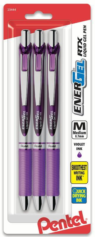 Pentel EnerGel RTX Gel Pen, 0.7mm Metal Tip, Medium Violet Line, 3-Pk