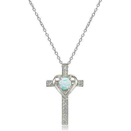 - Sterling Silver Created White Opal & White Topaz Heart in Cross Necklace