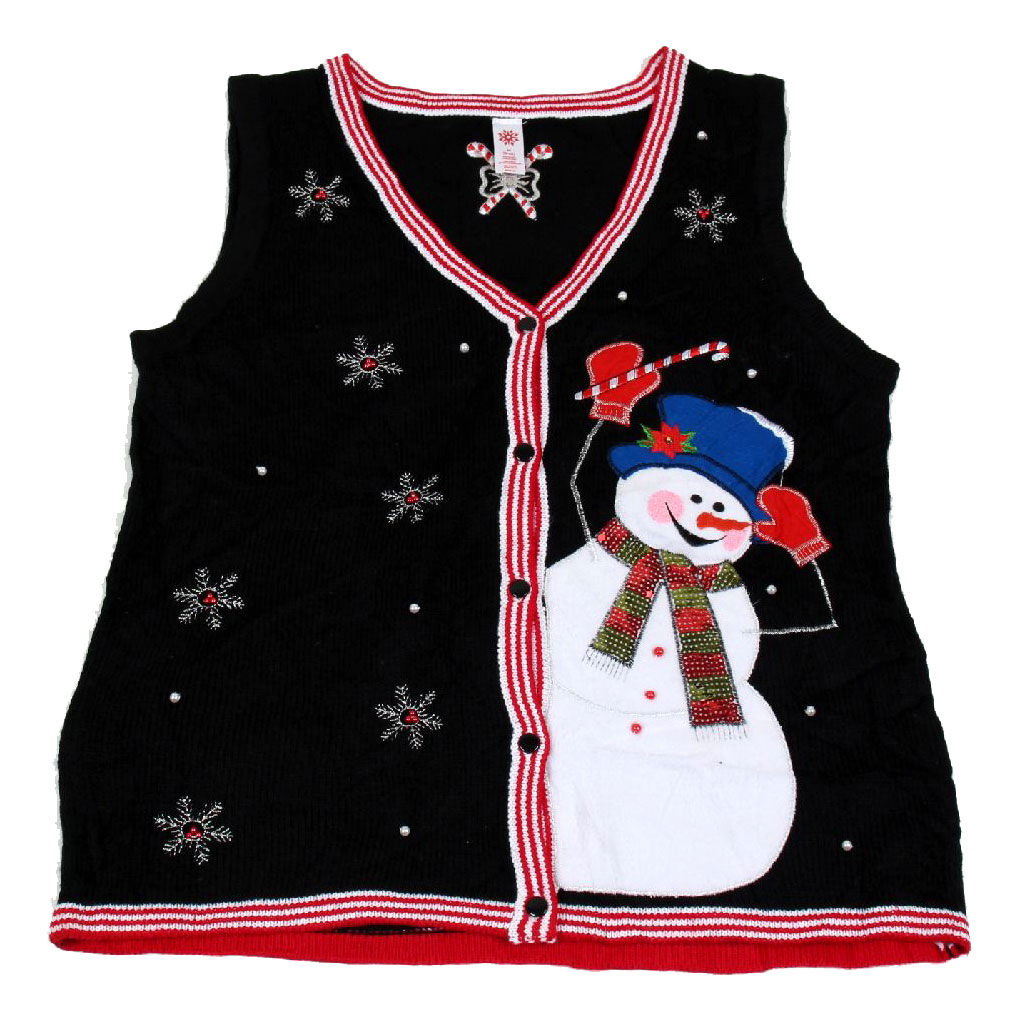 BuyYourTies - XVEST-3012 - Black  - Ugly Christmas Sweater Vest - Ladies - Medium