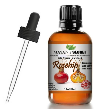 Rosehip Seed Oil by Mayan's Secret, 100% Pure, Cold Pressed, Unrefined. Reduce Acne Scars. Essential Oil for Face, Nails, Hair, Skin. Therapeutic AAA+