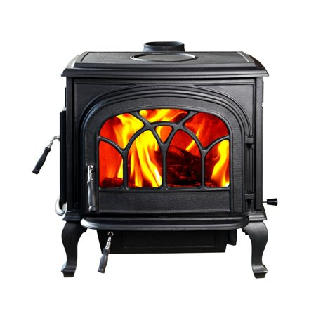 HiFlame Classical Model Stallion Large Cast Iron Wood Burning Stove HF737U Black