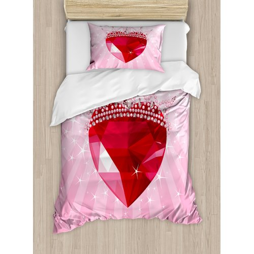 Ambesonne Vibrant Love Heart with Princess Crown Cartoon Style Romantic Kids Girls Room Decor Duvet Cover Set