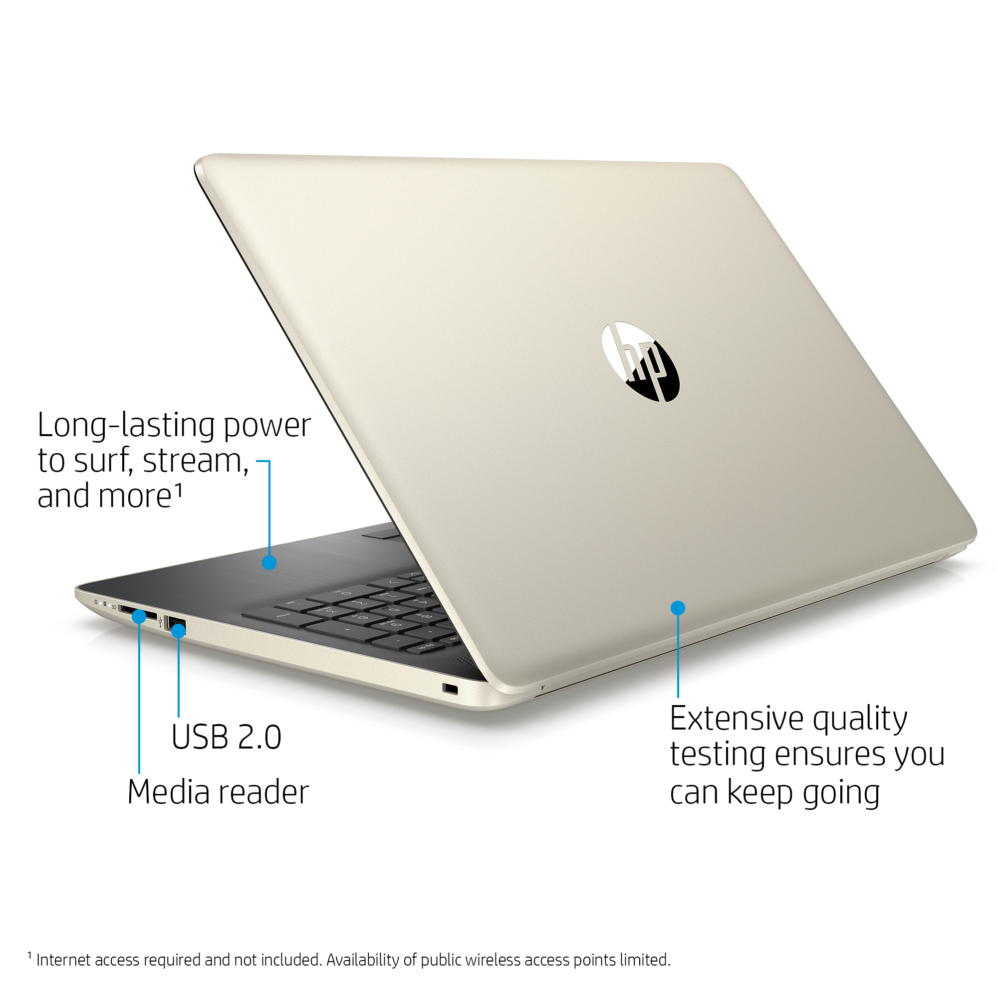 "HP 15 Laptop Bundle 15.6"" , AMD Dual-Core E2-9000e, 500GB HDD, 4GB SDRAM, Windows 10, Wireless Mouse X3000, Neoprene Sleeve - Twilight Blue - 15-db0081wm"