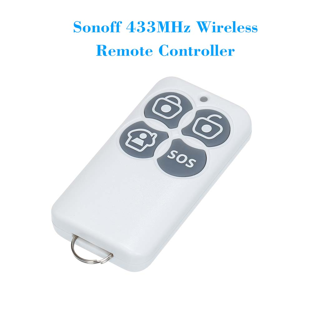 Sonoff 433MHz Wireless Remote Controller with Keychain with Arm/Disarm/Home Arm/SOS 4 Buttons Wireless Control Electric Gate Door Smart Remote Controller Remote Control Security Alarm System