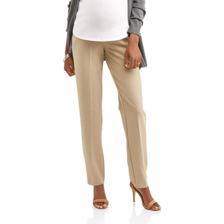 Maternity Full-Panel Straight Leg Career Pants -- Available in Plus (Black Straight Leg Yoga Pant)
