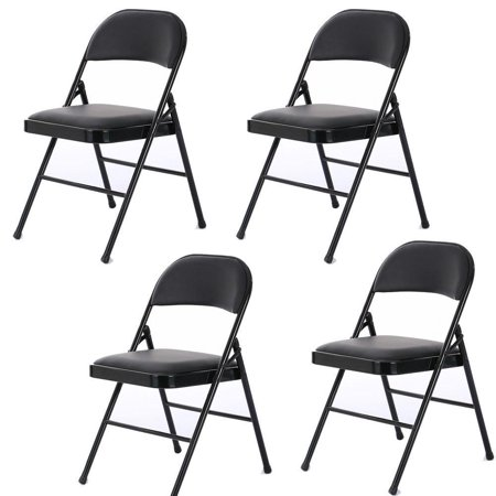 Zimtown Ste of 4 Fabric Folding Chair Black Soft Padded Seat Compact Steel Back (Fabric Steel Folding Chair)