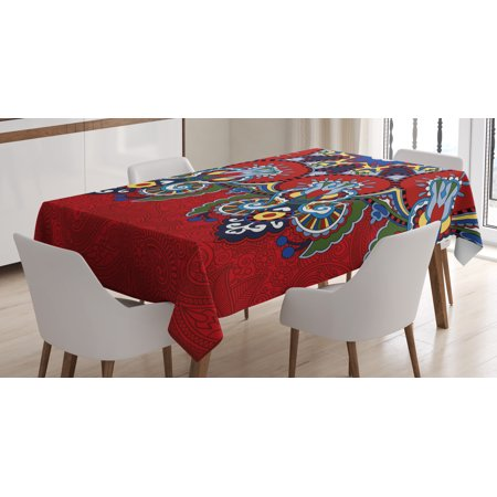 Red Mandala Tablecloth, Russian Ukranian Ethnic Lace Like Flowers Leaves Swirls Vintage, Rectangular Table Cover for Dining Room Kitchen, 60 X 90 Inches, Burngundy Blue and White, by Ambesonne