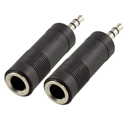 "Unique Bargains 1/4"" Mono Plug to  3.5mm Audio Jack Plug Adapter 2 Pcs"