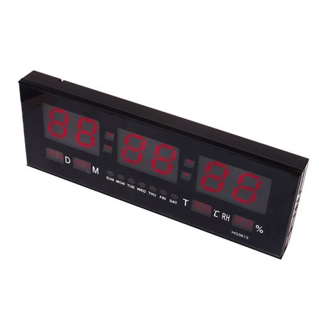HURRISE Modern LED Alarm Clock Calendar Clock With Thermometer Temperature Display,Red - image 3 de 7
