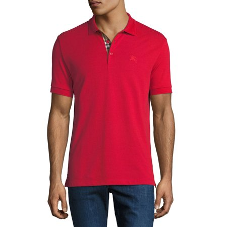 BURBERRY Men's Red Short Sleeve Polo T-Shirt with Check Insert (Burberry Mens Polo)