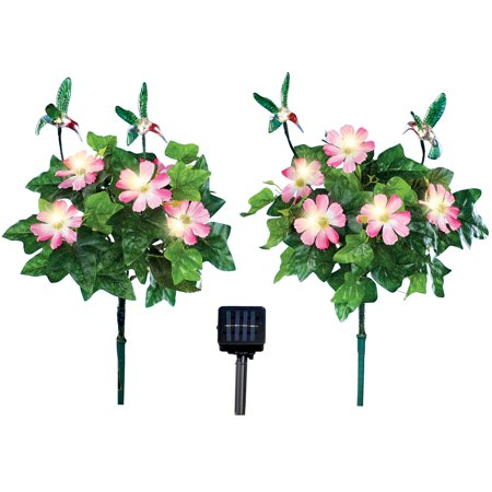 Solar Hummingbird and Pink Flower Stakes - Set of 2 - Outdoor Yard Accent - Walmart.com