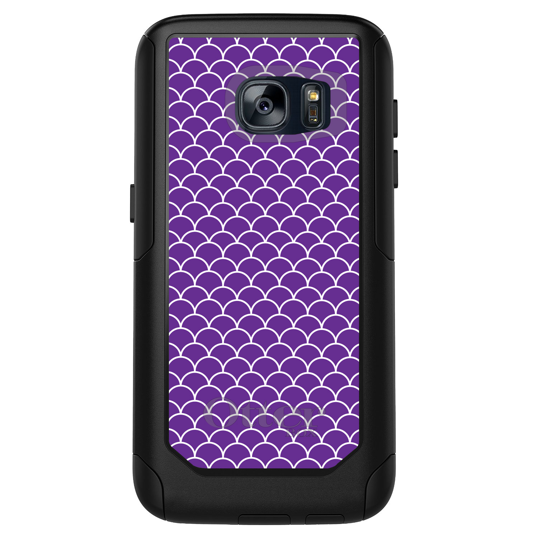 DistinctInk™ Custom Black OtterBox Commuter Series Case for Samsung Galaxy S7 - Purple White Scalloped Pattern