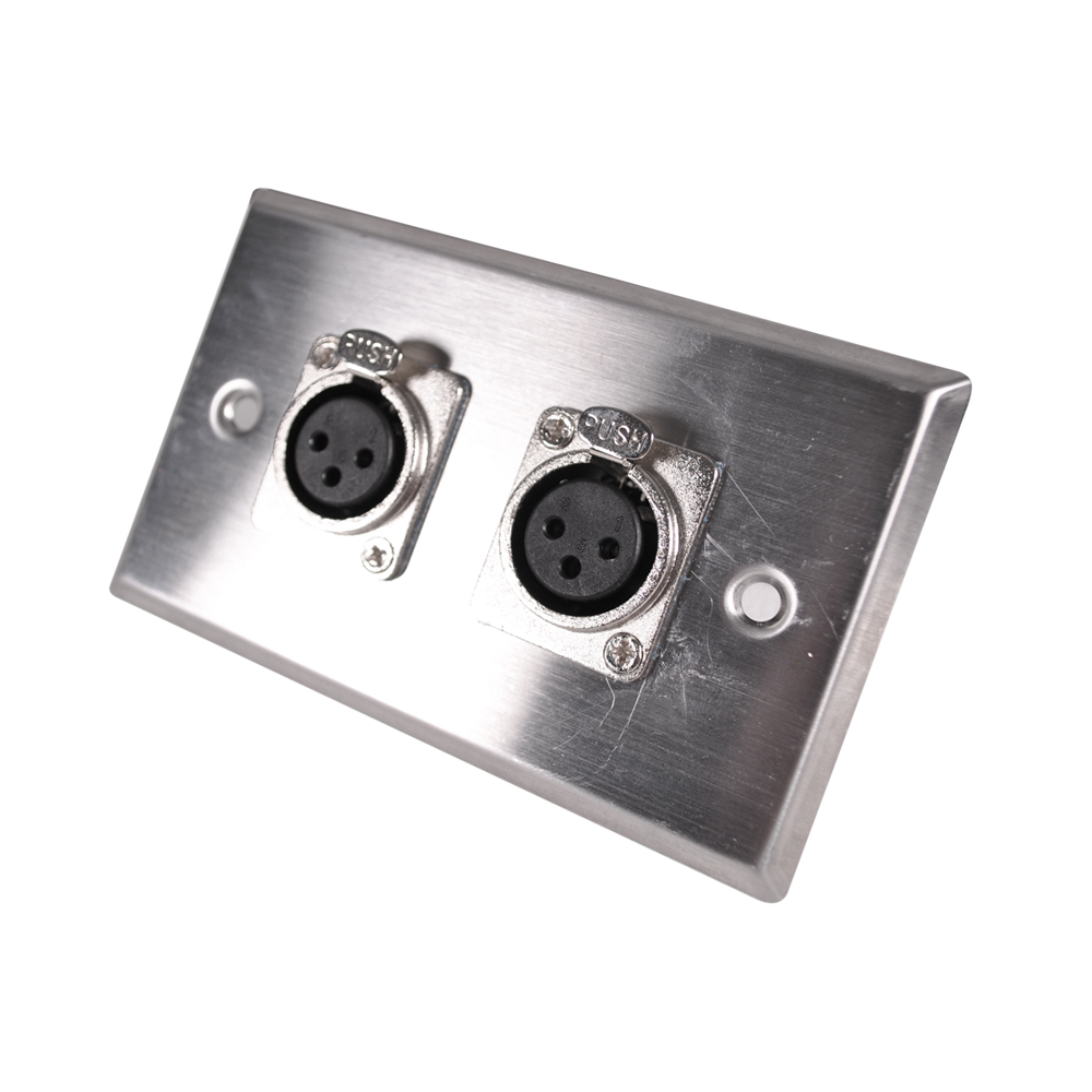 Seismic Audio  Stainless Steel Wall Plate -Dual XLR Female Connectors Silver - SA-PLATE28