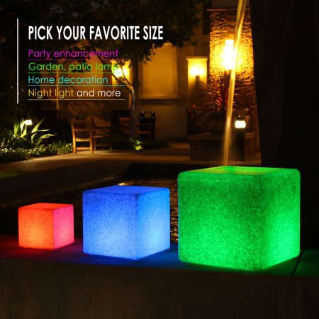 Innoka 8 Inch Led Cube Light Waterproof Cordless Granite Glow Rechargeable Rgb Multi Color Changing Garden Pool Outdoor Home Patio Party