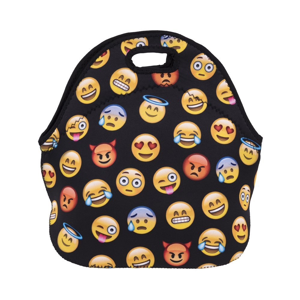 Kids Boys Girls Adults Insulated Neoprene Lunch Bag /Lunch Box/Lunch Tote/Picnic Bags Tote Handbag Lunch Box Food Container Gourmet Tote Cooler Warm Pouch Lightweight (Emoji Black)