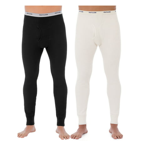 Duofold Cotton Long Underwear - Fruit of the Loom Men's Classic Bottoms Thermal Underwear for Men, Value 2 Pack (2 pants)