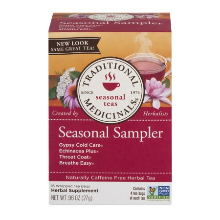 Traditional Medicinals Seasonal Herb Tea Sampler Herbal Dietary Supplement Tea Bags