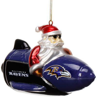 Baltimore Ravens Santa on a Rocket Ornament