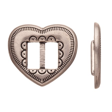 Heart Shape Cord Frame Antique Matte Silver-Plated Flat Leather Cord Charm Fits 9.5mm Cord, 27x2.5mm