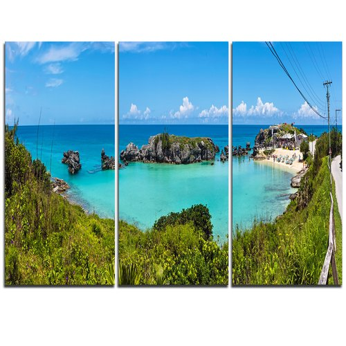 Design Art Tobacco Bay Panorama - 3 Piece Graphic Art on Wrapped Canvas Set