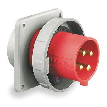 IEC Pin and Sleeve Inlet,30A,480V,Red HUBBELL WIRING DEVICE-KELLEMS HBL430B7W