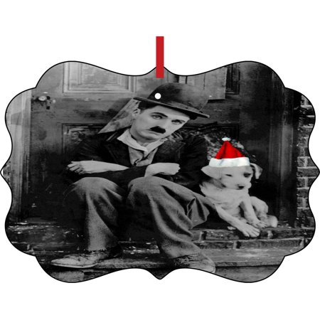 Ornaments Vintage Charlie Chaplin Actor Comedian and Dog in a Santa Klaus Hat Double Sided Elegant Aluminum Glossy Christmas Ornament Tree Decoration - Unique Modern Novelty Tree Décor Favors (Double Face Santa)
