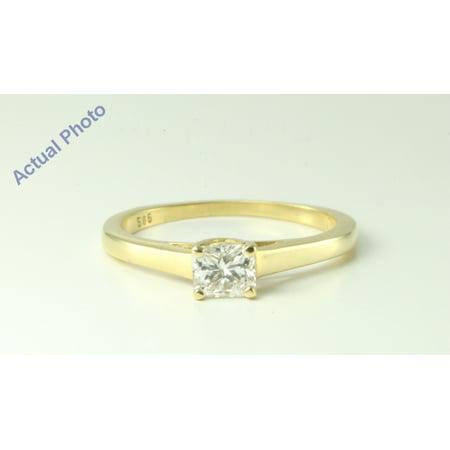 - 14k Yellow Gold Radiant Diamond Modern classic square four prong setting engagement ring (0.47 Ct, J, I1 )