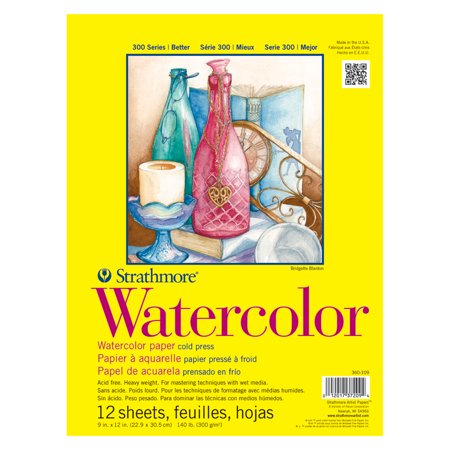 "Strathmore 300 Series Watercolor Paper Pad, 9"" x 12"", 140 lb, 12 Sheets](Watercolor Supplies)"