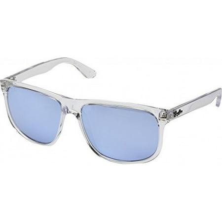 Ray-Ban Men's Nylon Man Non-Polarized Iridium Square Sunglasses, Trasparent-2, 60 mm