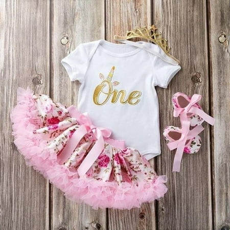 Cute Newborn Toddler Baby Girls 1st Birthday Floral Romper Tutu Skirt Dress Outfits