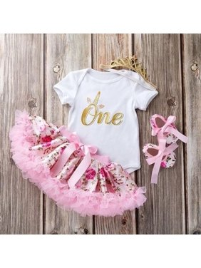 ff955fe8d Product Image Cute Newborn Toddler Baby Girls 1st Birthday Floral Romper  Tutu Skirt Dress Outfits. Emmababy