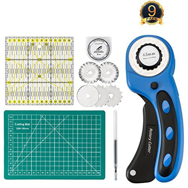 45mm Rotary Cutter with Rotary Cutter Blades, Self-Healing Cutting Mat & Acrylic Quilting Ruler, Perfect Set for Cutting Fabric, Paper, Leathe