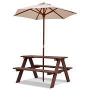 Gymax Children Outdoor 4 Seat Kids Picnic Table Bench with Folding Umbrella