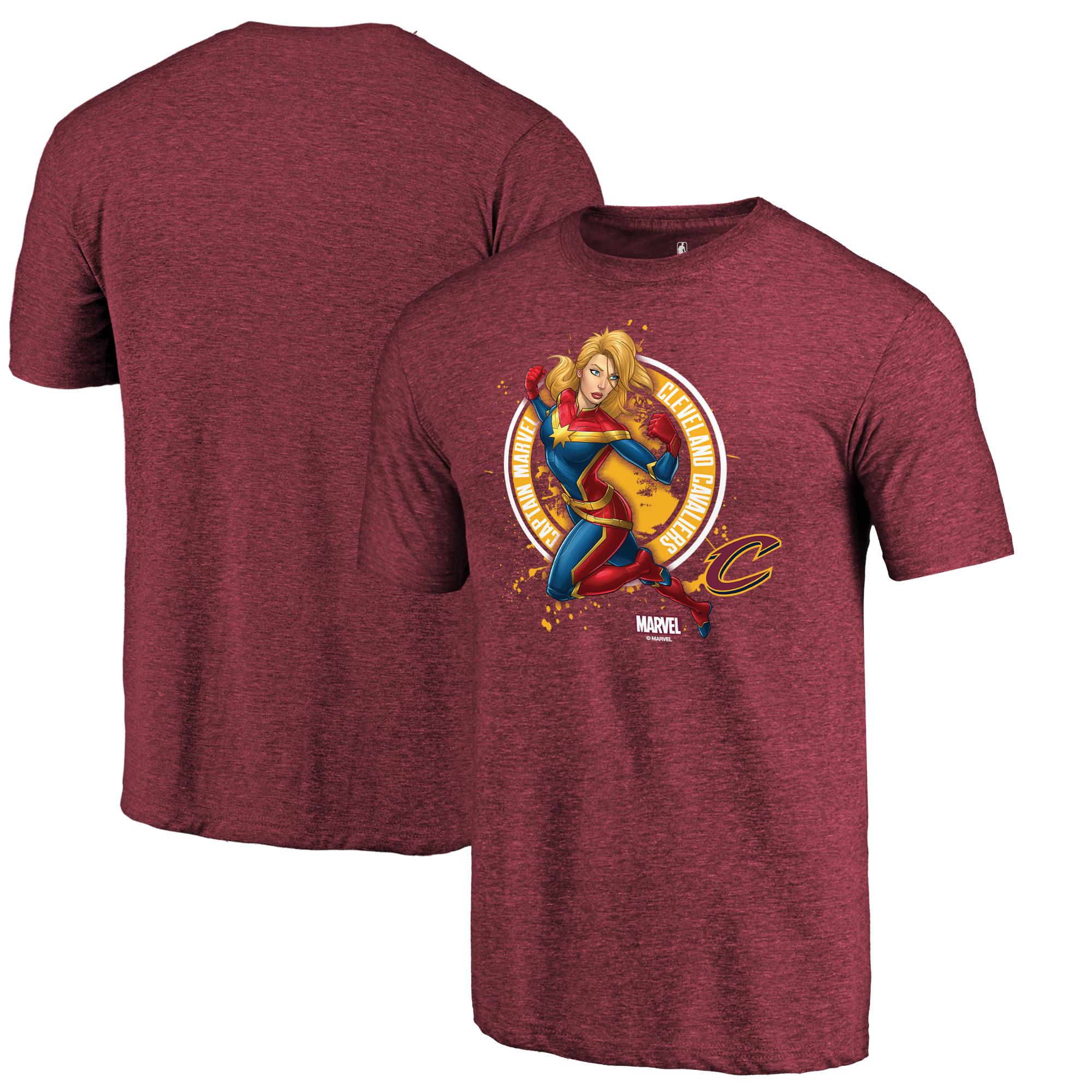 Cleveland Cavaliers Fanatics Branded Captain Marvel Seal Tri-Blend T-Shirt - Wine