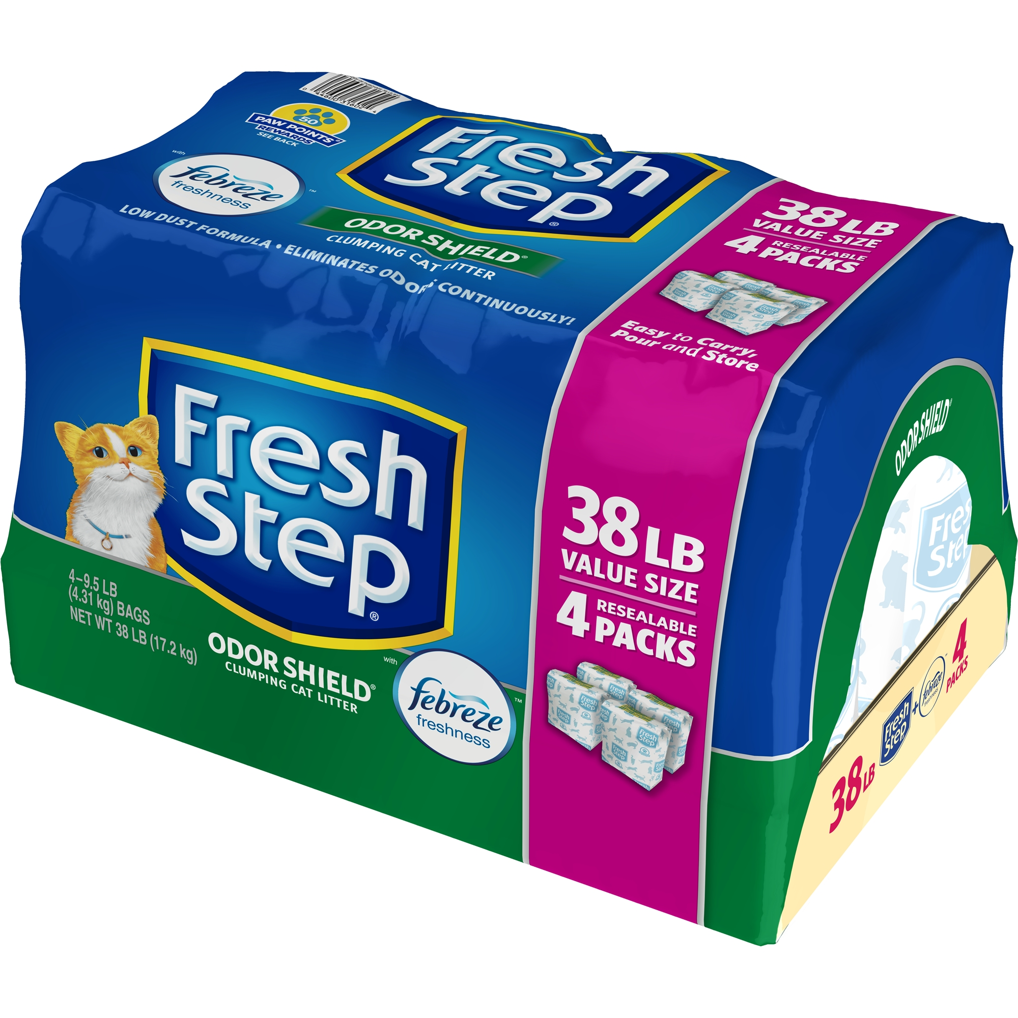 Fresh Step Odor Shield Scented Litter with the Power of Febreze, Clumping Cat Litter, 38-lb