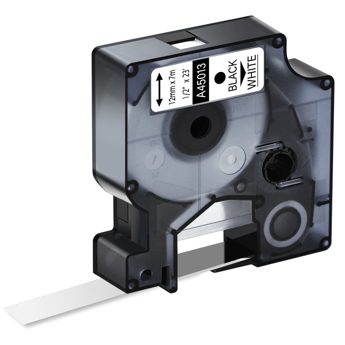 5 PK Black on White Label Tape For Dymo D1 45013 LabelManager 160 200 12mm 1//2/'/'