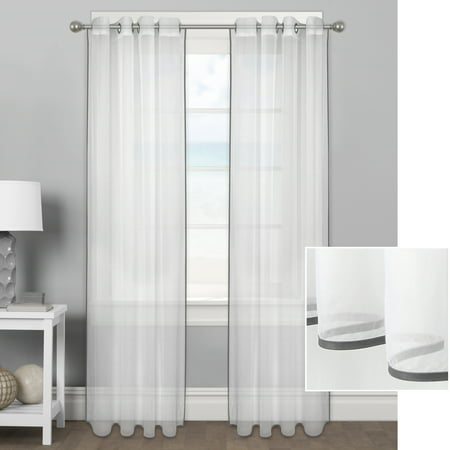 Better Homes & Gardens Ribbon Border Window Curtain Panel (Pin Ribbon Drapes)