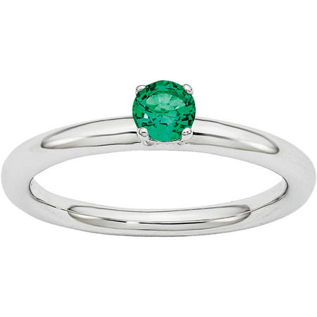 Created Emerald Ring (Created Emerald Sterling Silver Rhodium Ring)