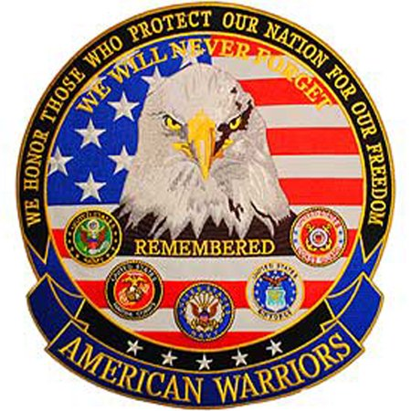 - US American Warriors Logo Small Embroidered Round Military Patch