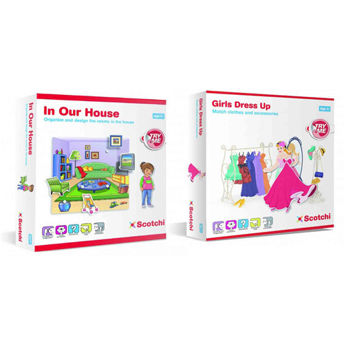 Scotchi Happy Kidz Children's Game In Our House & Girls Dress Up Game Set