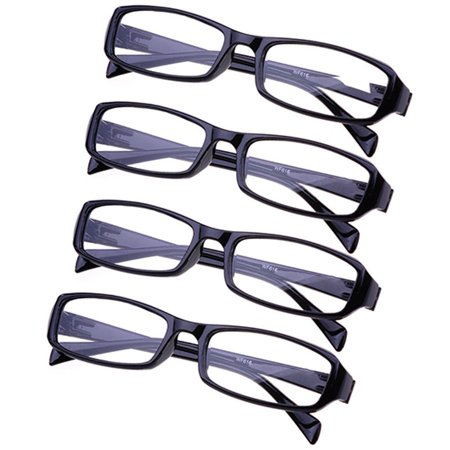 4 Pack Reading Glasses Black Readers For Men & Women Stylish Clear