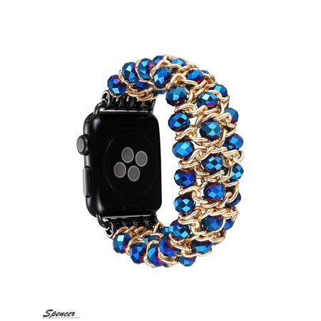 """Spencer Apple Watch Replacement Band 38mm, Elastic Stretch Crystal Beads Metal Bracelet Chain Strap Wristband Women Girls Compatible for Apple Watch Series 4/ 3/ 2/ 1 """"Blue"""""""